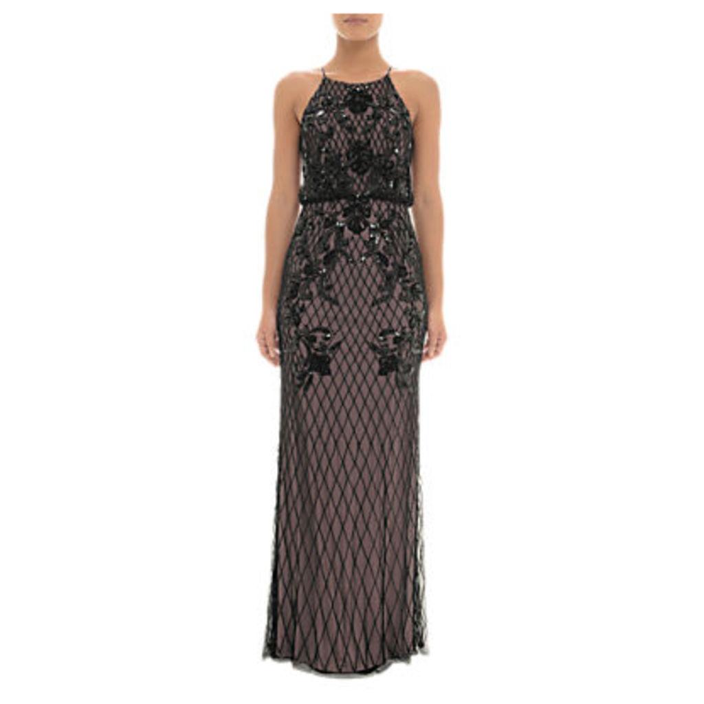 Adrianna Papell Beaded Halterneck Blouson Dress, Black/Nude