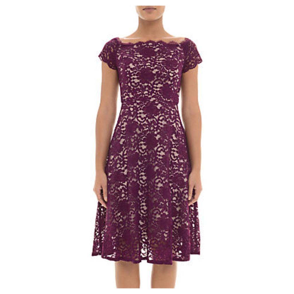Adrianna Papell Lace Midi Dress Petite, Dark Magenta