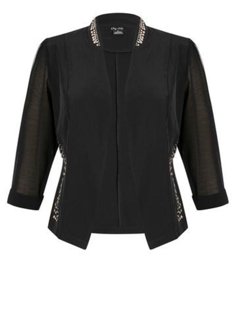 City Chic Black Stud Jacket, Black