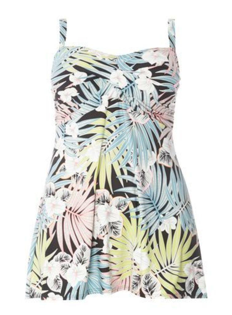 Blue Palm Leaf Print Swimdress, Blue