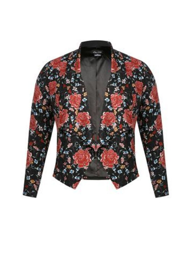 City Chic Red Floral Print Jacket, Red