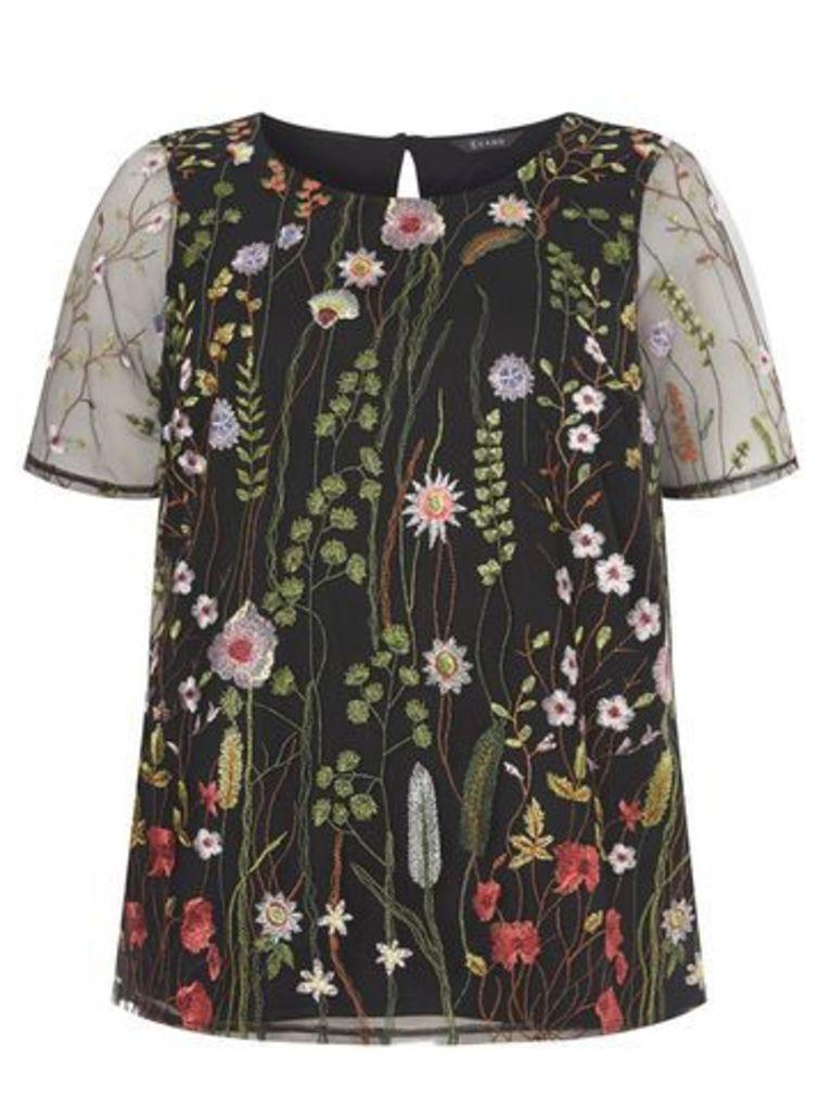 Black Floral Embroidered Top, Black