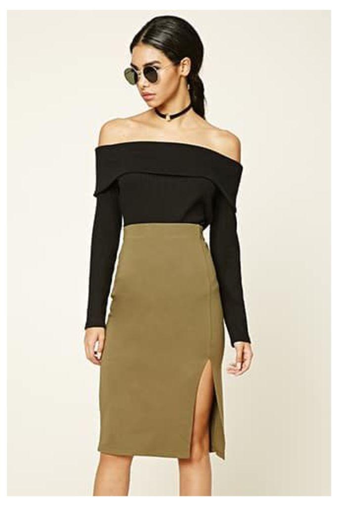 Off-Center Slit Pencil Skirt