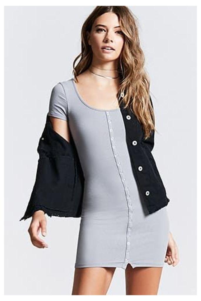 Ribbed Snap-Button Mini Dress