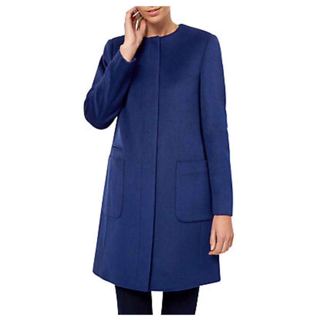 Jaeger Collarless Wool Coat, Blue