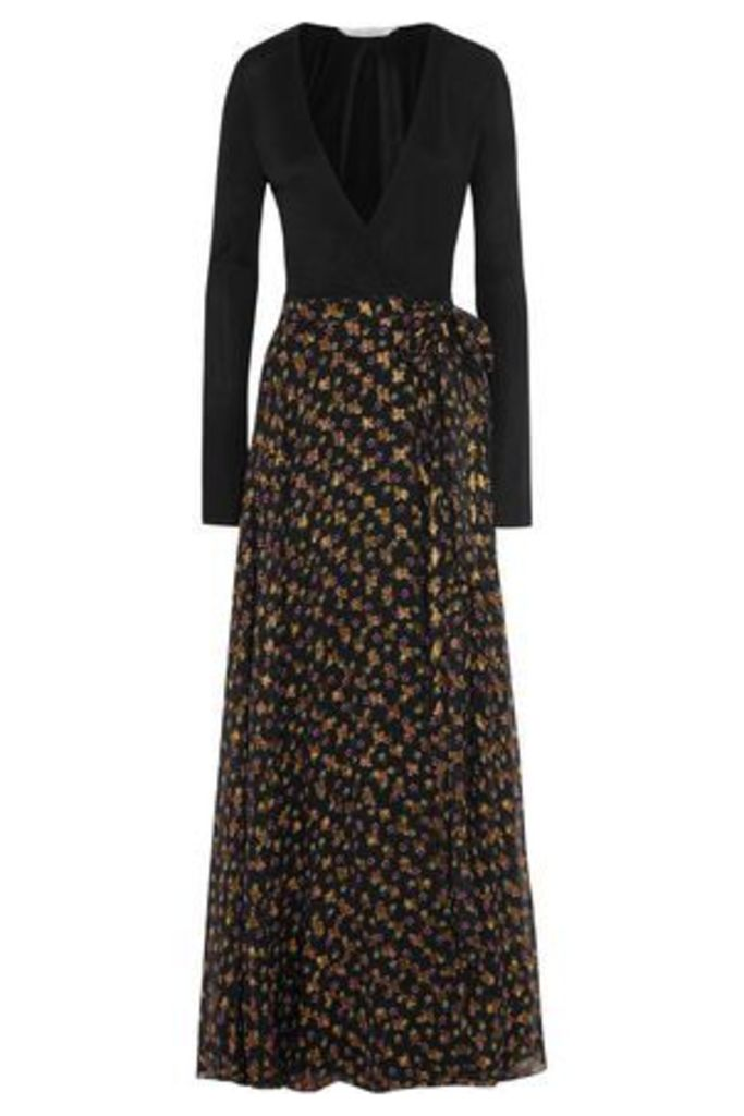 Diane Von Furstenberg Woman Aviva Printed Fil Coupé Silk-blend And Stretch-knit Wrap Gown Black Size 6