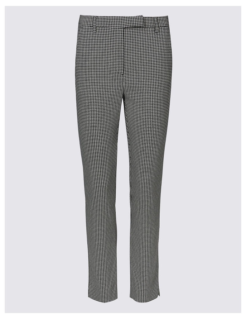 M&S Collection Cotton Rich Dogtooth Print Slim Leg Trousers