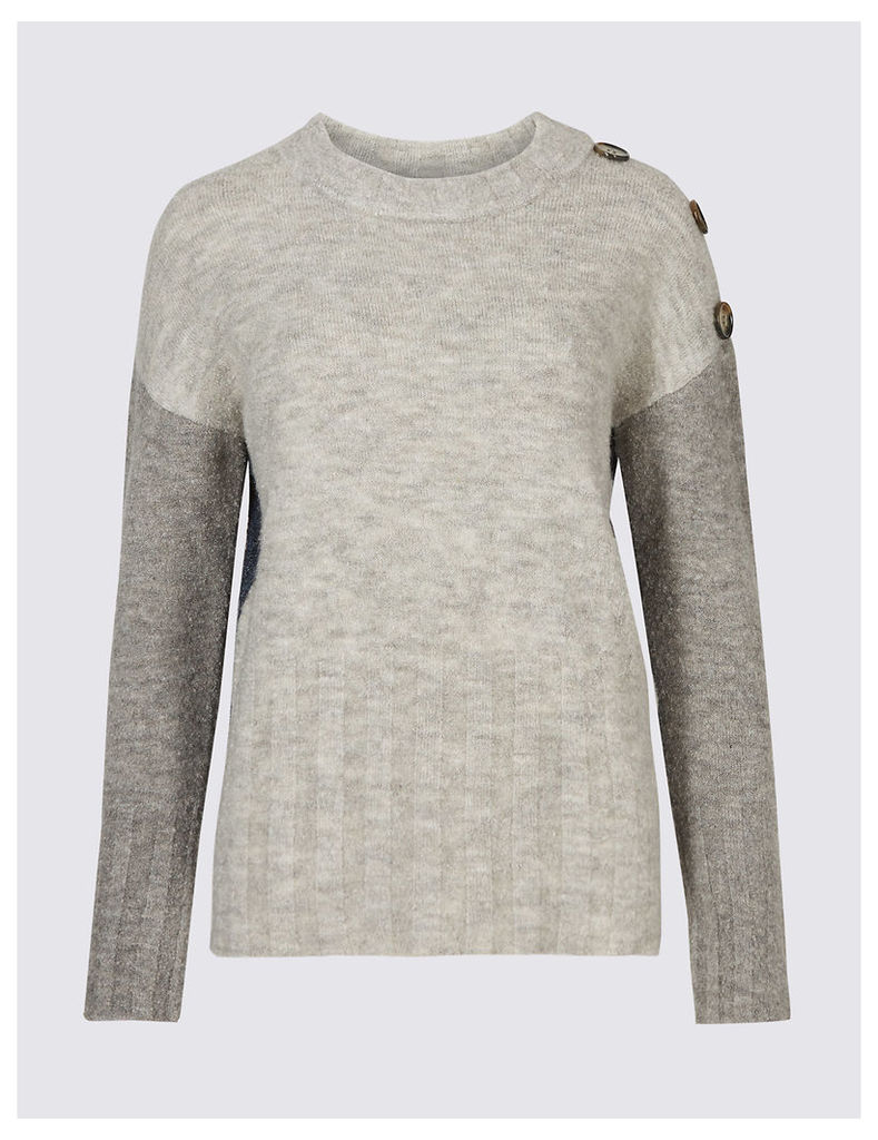 M&S Collection Colour Block Ribbed Round Neck Jumper