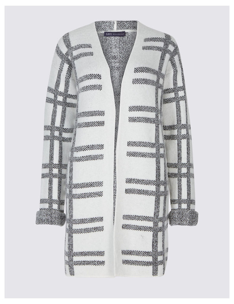 M&S Collection Checked Longline Open Front Cardigan