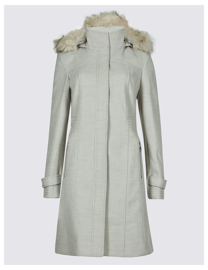M&S Collection Faux Fur Collar Longline Coat