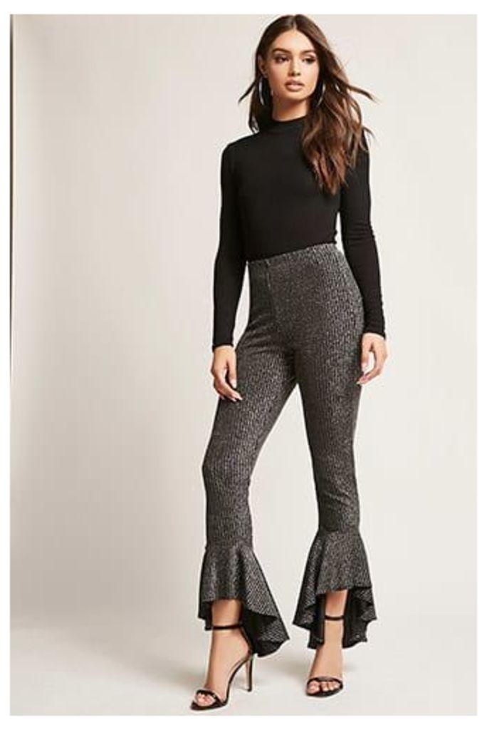 Metallic Stripe Ruffle Trousers