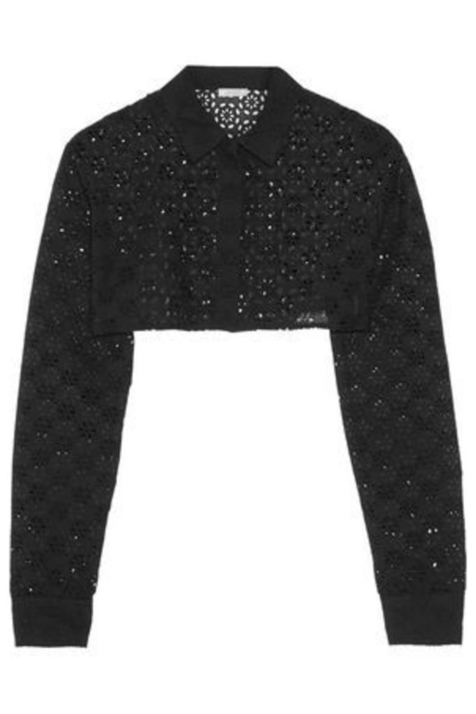 Nina Ricci Woman Cropped Broderie Anglaise Cotton Jacket Black Size 38