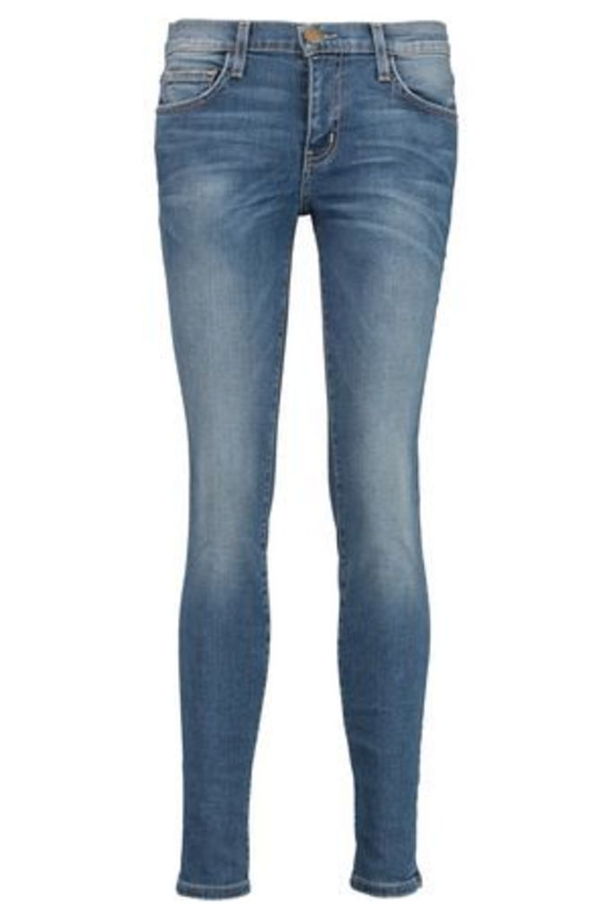 Current/elliott Woman The Ankle Skinny Mid-rise Cropped Jeans Mid Denim Size 25