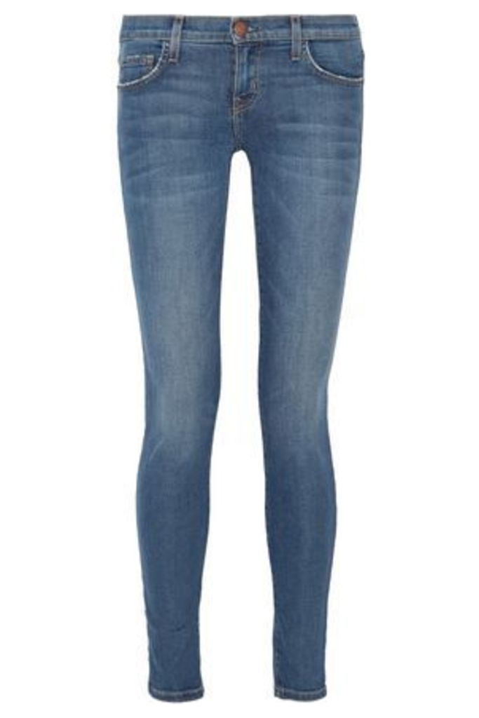 Current/elliott Woman The Ankle Mid-rise Skinny Jeans Mid Denim Size 28