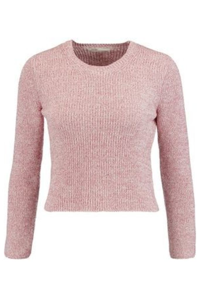 Maje Woman Cropped Knitted Sweater Baby Pink Size 3