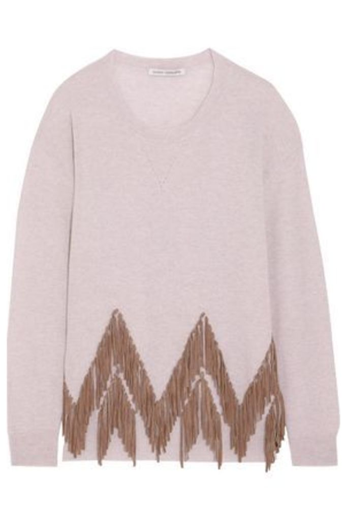 Autumn Cashmere Woman Suede-trimmed Cashmere Sweater Stone Size S