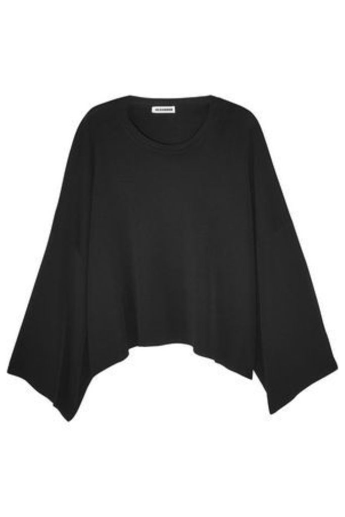 Jil Sander Woman Oversized Cropped Knitted Sweater Black Size 38