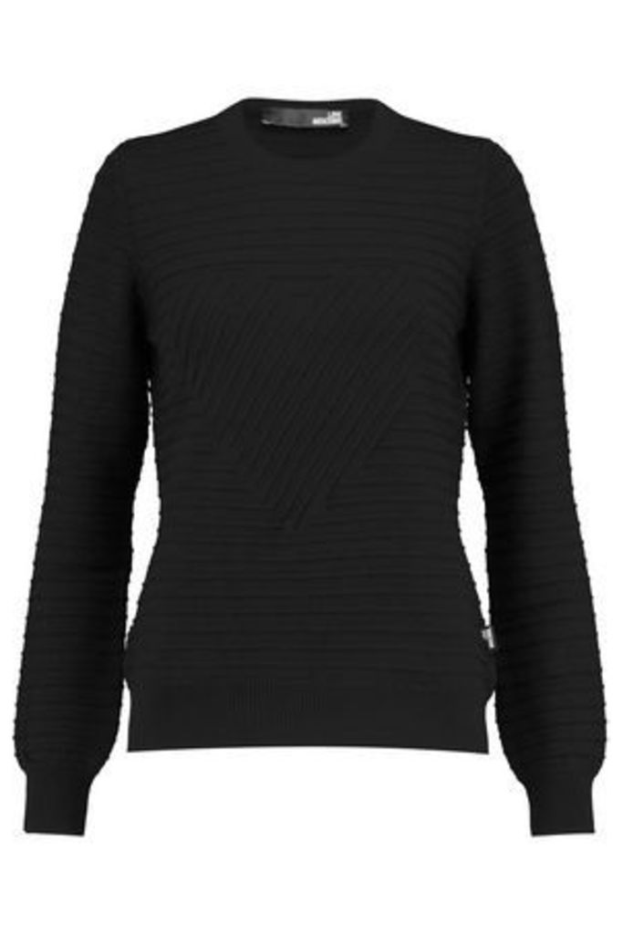 Love Moschino Woman Ribbed Wool Sweater Black Size 48
