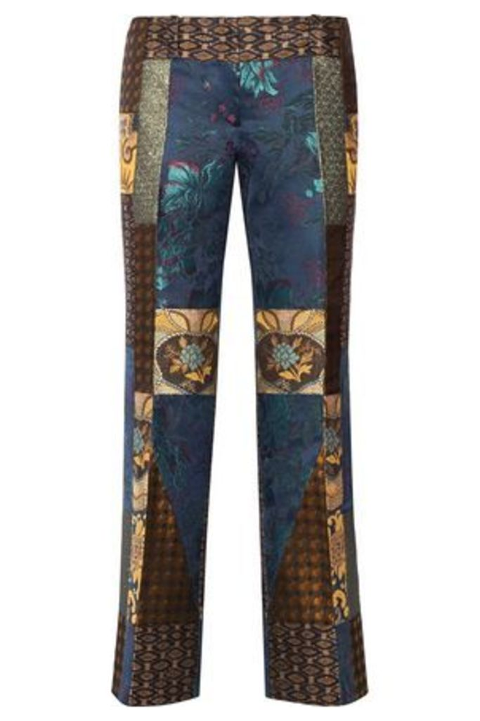 Etro Woman Patchwork Jacquard Flared Pants Light Brown Size 46