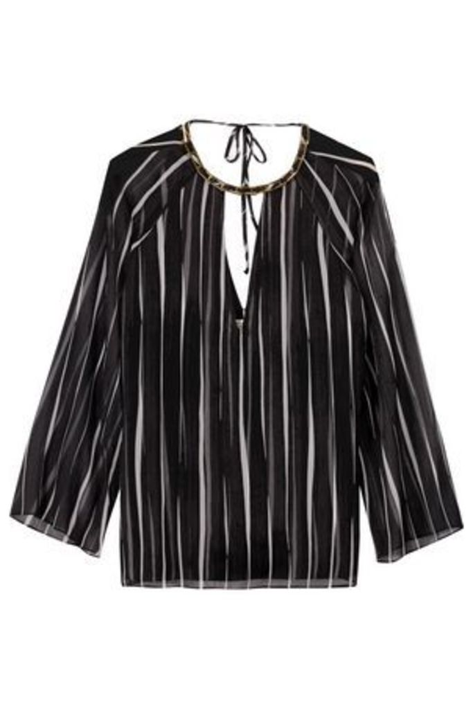 Halston Heritage Woman Embellished Striped Georgette Blouse Black Size 6