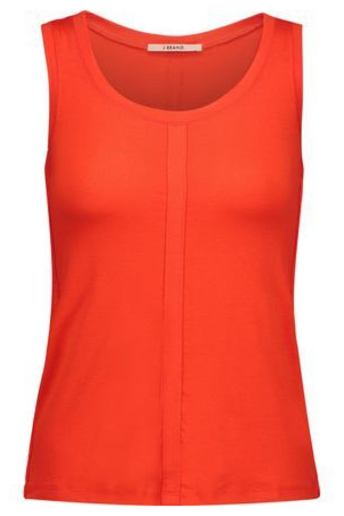 J Brand Woman Stretch Cotton And Linen-blend Tank Tomato Red Size L