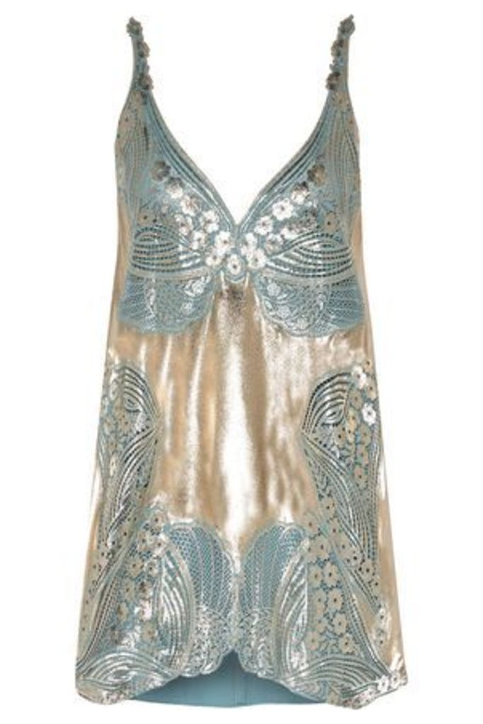 Stella Mccartney Woman Allison Metallic Coated Guipure Lace And Crepe De Chine Top Sky Blue Size 42