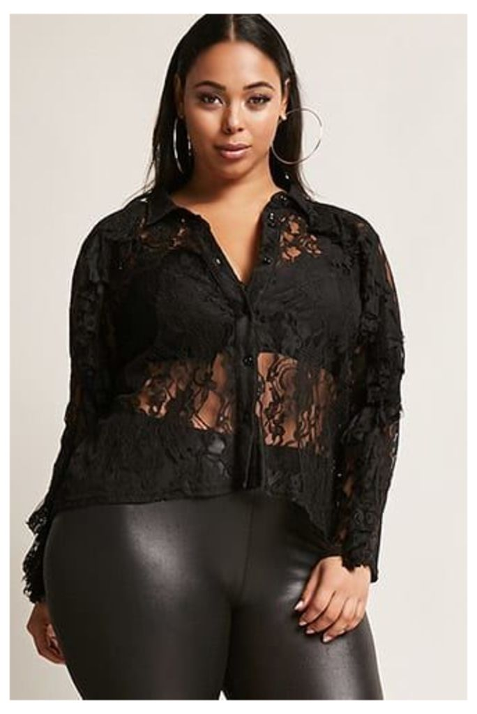Plus Size Sheer Lace Shirt