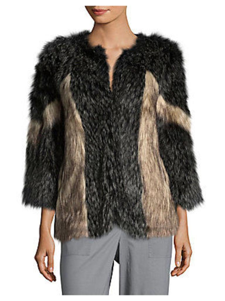 Pieced Faux Fur Jacket