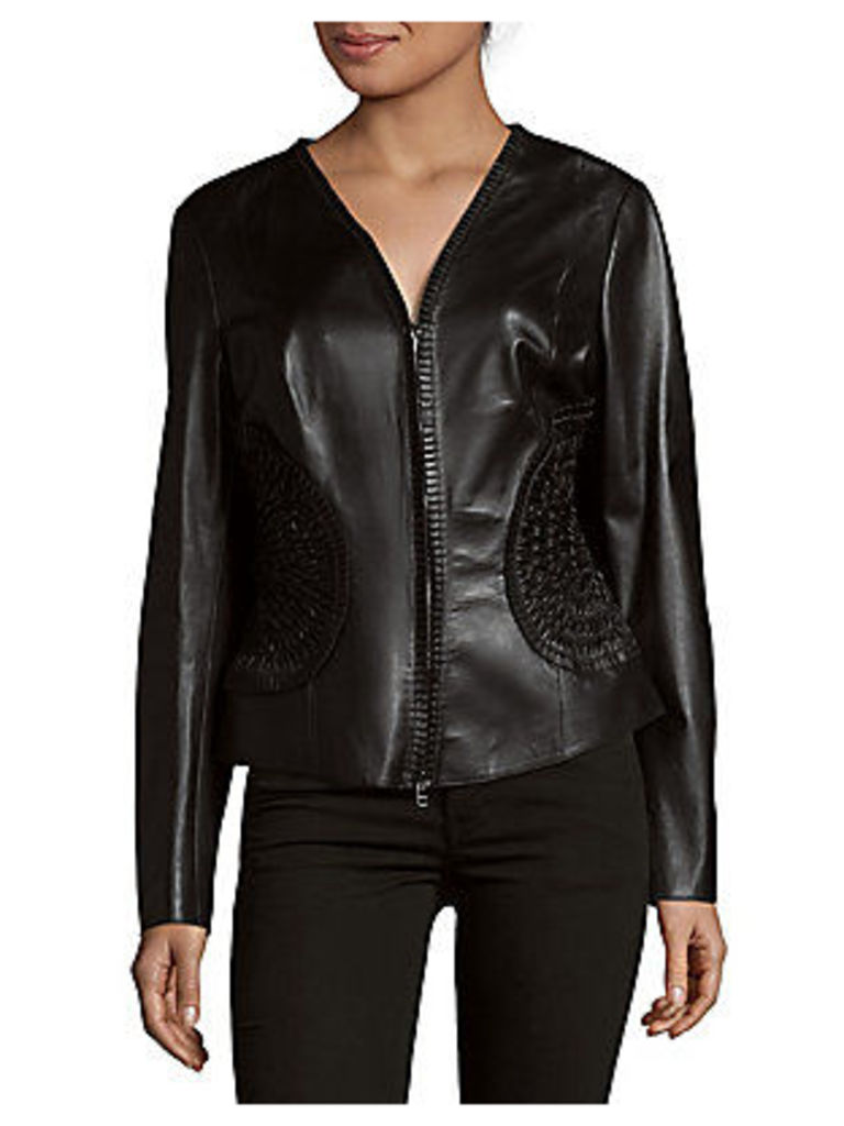 Smocked Accent Leather Jacket