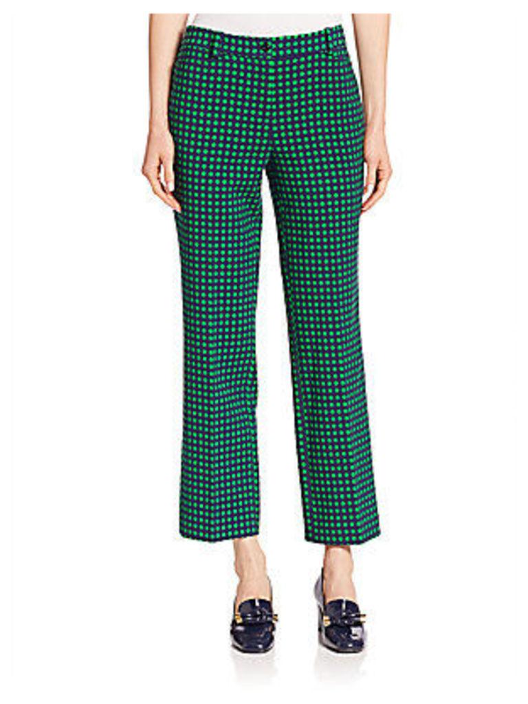 Polka Dot Stretch-Wool Ankle Flare Pants