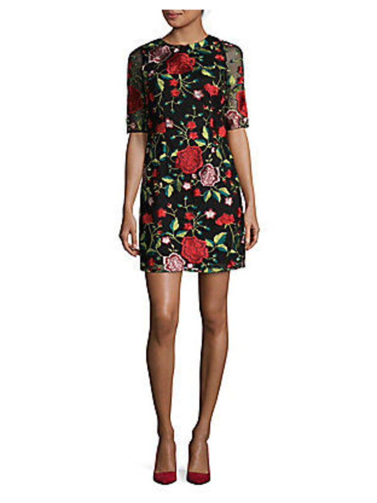 Embroidered Floral Sheath Dress