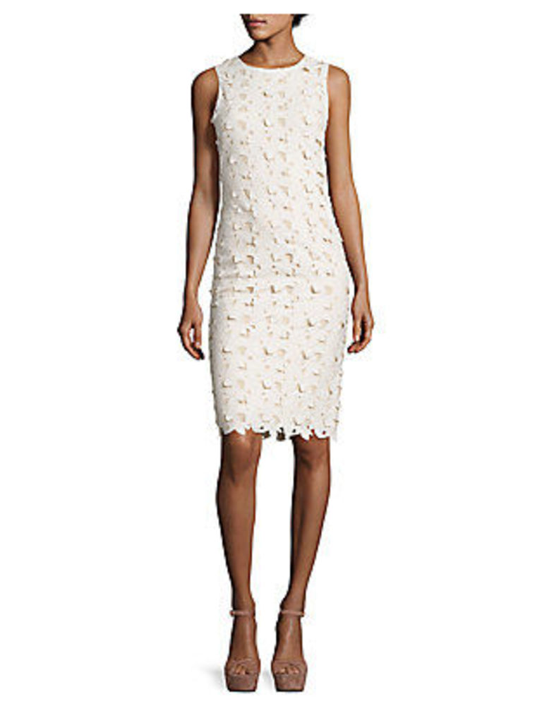 Fey Embroidered Faux Leather Lace Dress