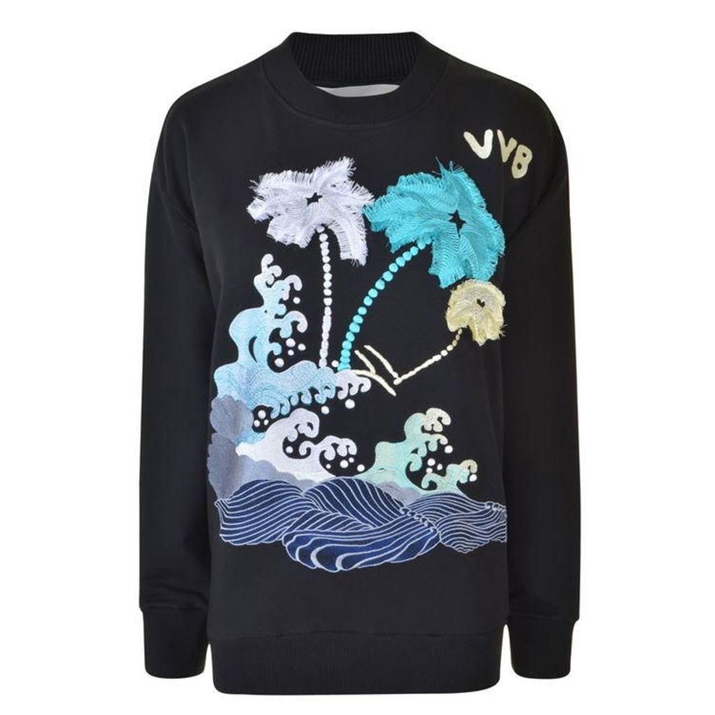 VICTORIA BY VICTORIA BECKHAM Embroidered Wave Sweatshirt