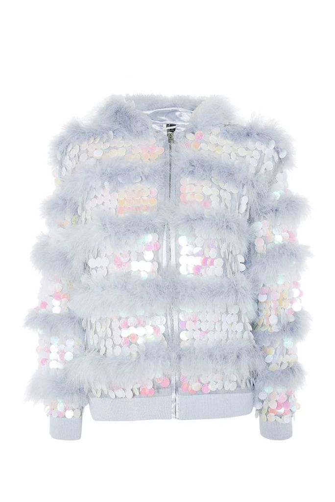Womens Sequin Feather Jacket - Lilac, Lilac