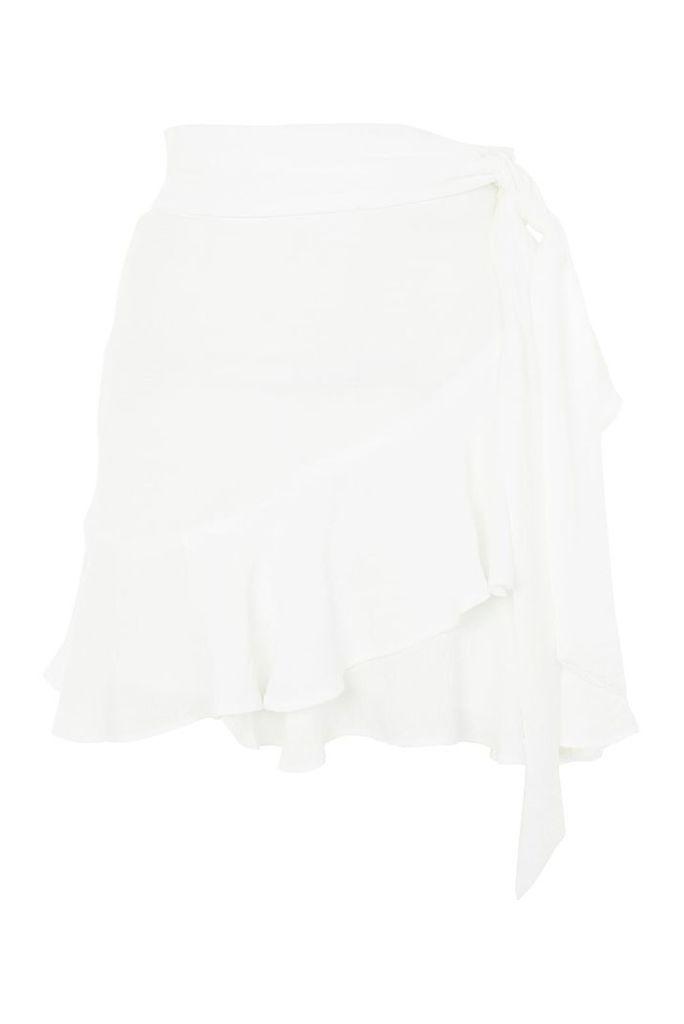 Womens Ruffle Tie Mini Skirt - White, White