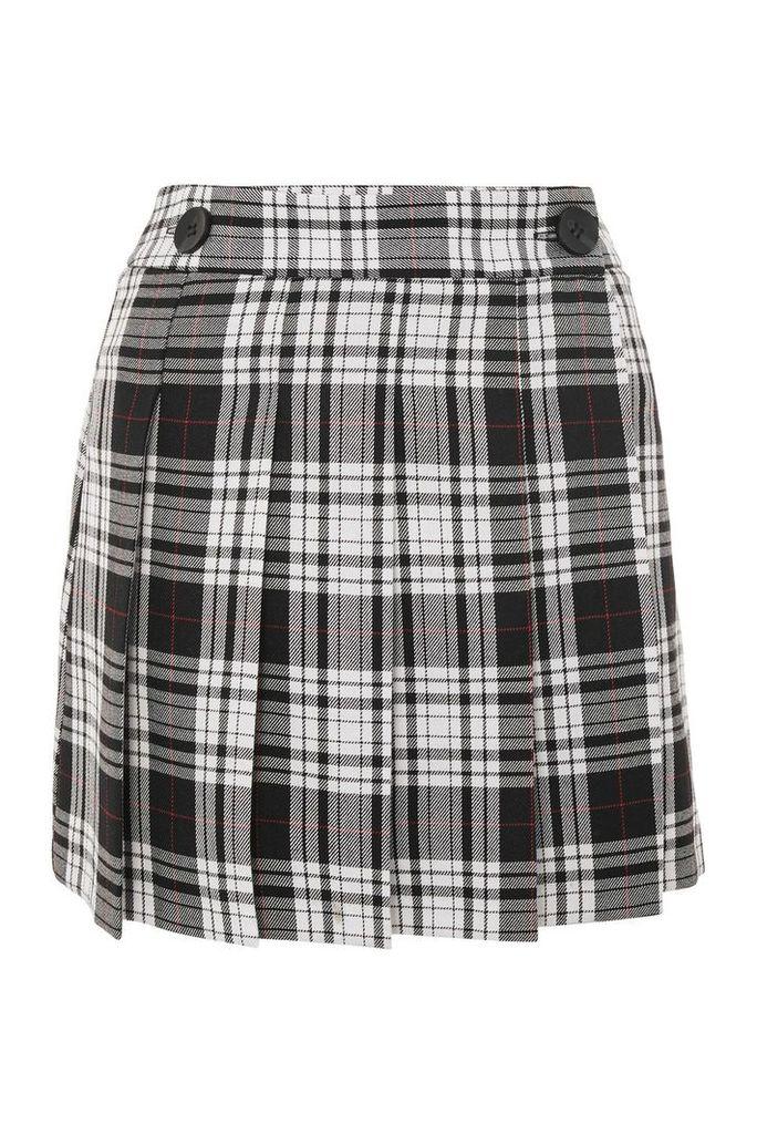 Womens College Checked Kilt Skirt - Monochrome, Monochrome