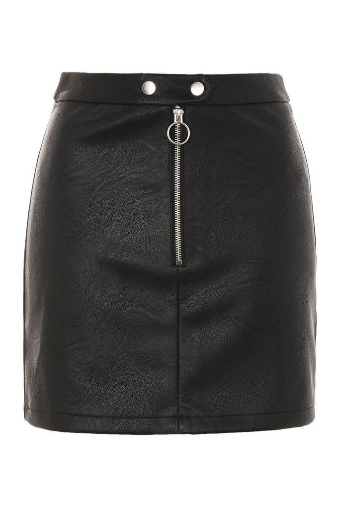 Womens Zip PU Mini Skirt - Black, Black