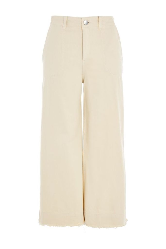 Womens Wide Leg Sailor Trousers - Cream, Cream