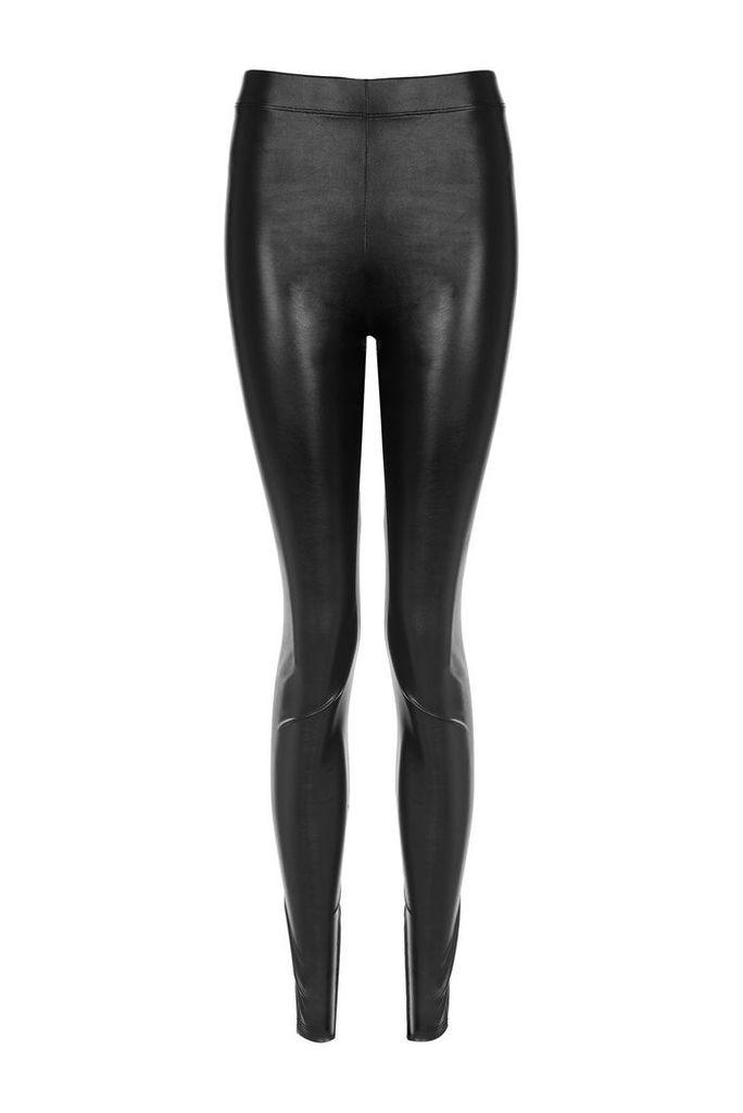 Womens TALL Wet-Look Leggings - Black, Black