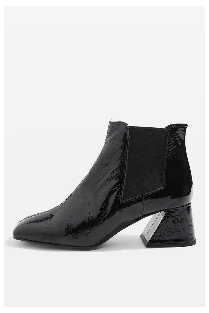 Womens MANUEL Patent Leather Boots - Black, Black