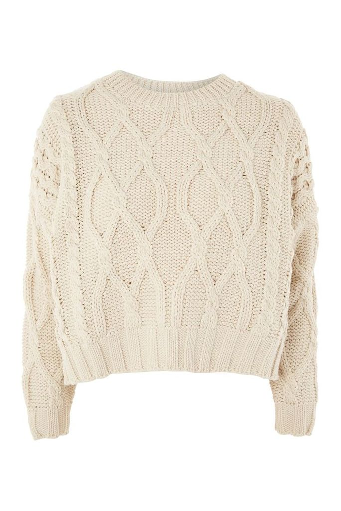 Womens Cropped Cable Knit Jumper - Oatmeal, Oatmeal