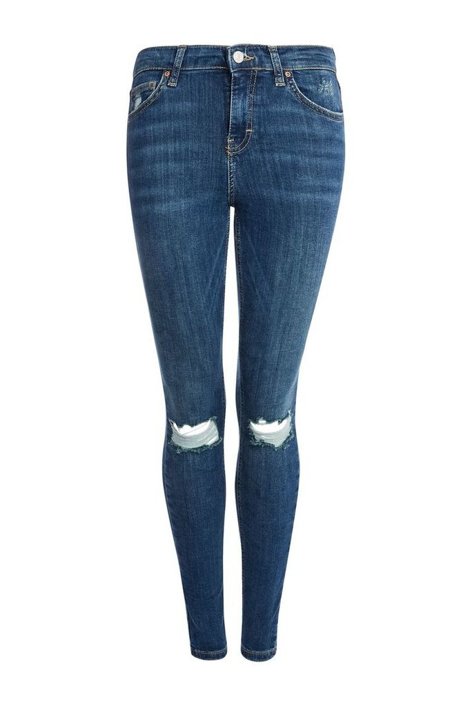 Womens MOTO Authentic Blue Ripped Jamie Jeans - Blue, Blue