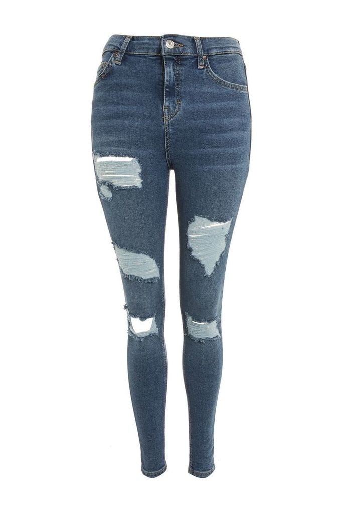 Womens MOTO Cheeky Rip Jamie Jeans - Blue, Blue