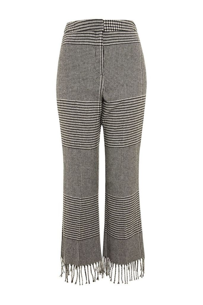 Womens PETITE Prince Of Wales Checked Fringe Trousers - Monochrome, Monochrome