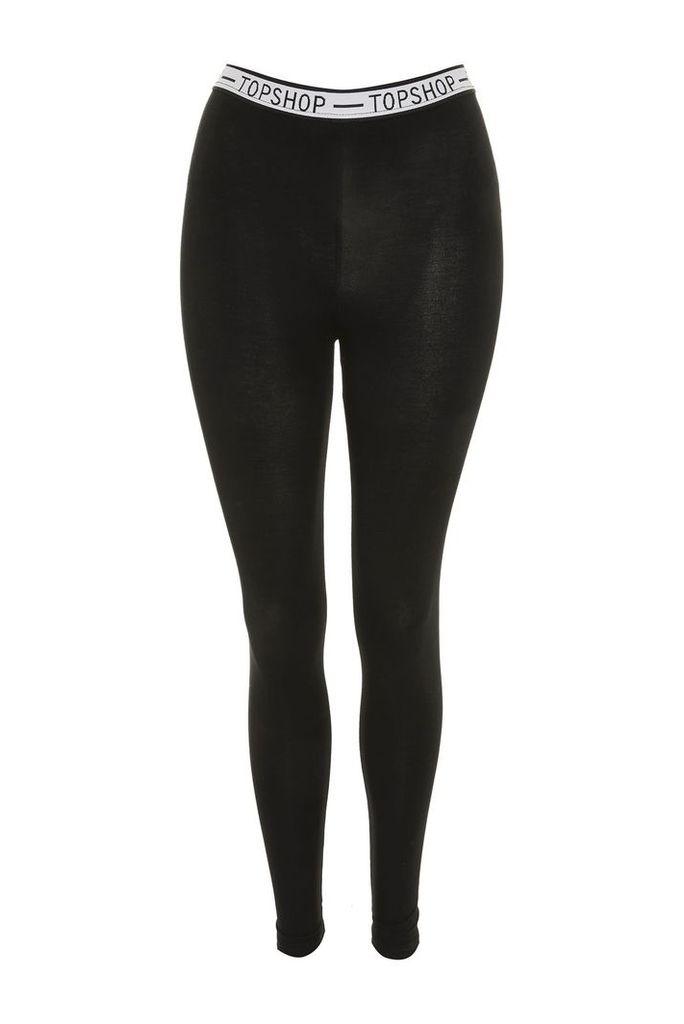 Womens White Elastic Logo Leggings - Black, Black