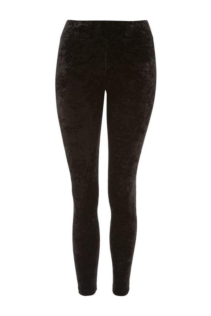 Womens PETITE Velvet Leggings - Black, Black