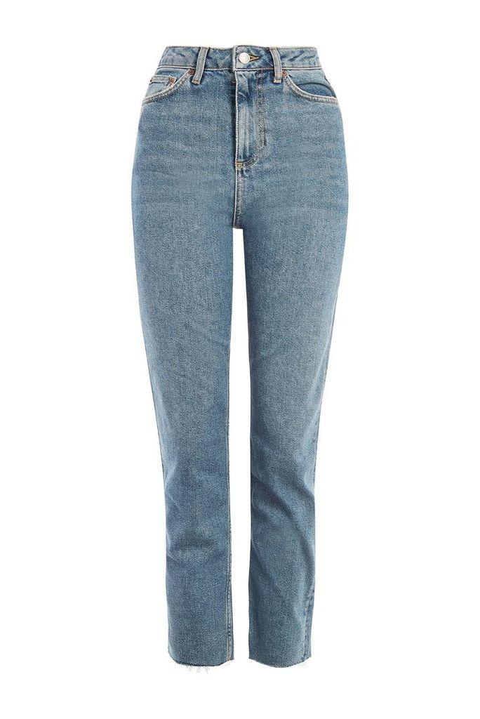 Womens PETITE Authentic Mid Blue Raw Straight Leg Jeans - Blue, Blue