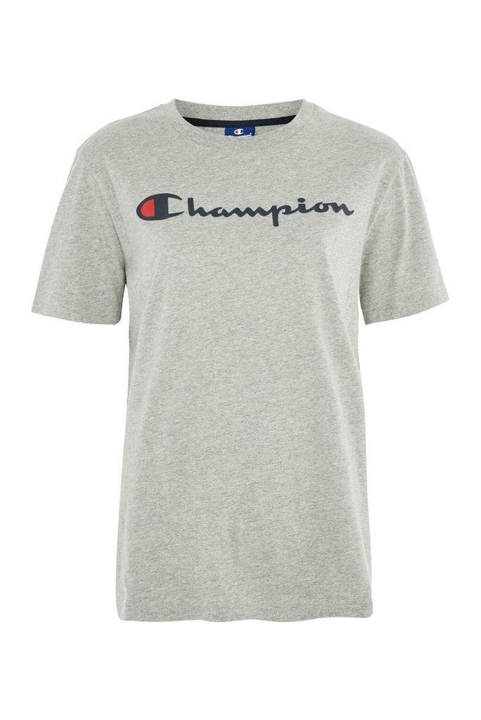 Womens Grey Logo T-Shirt by Champion - Grey, Grey