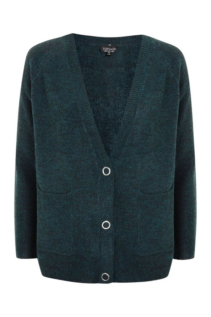 Womens Marl Popper Button Cardigan - Teal, Teal