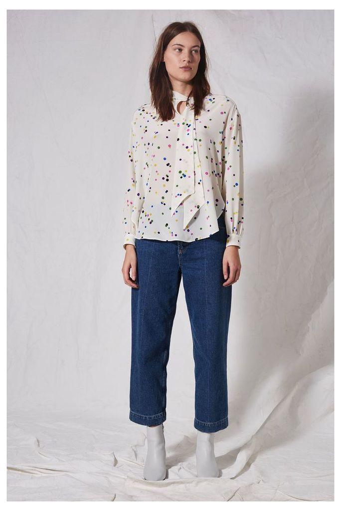 Womens **Spot Tie Neck Blouse by Boutique - Cream, Cream